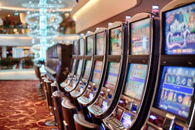 Row of Slot Machines in a Casino